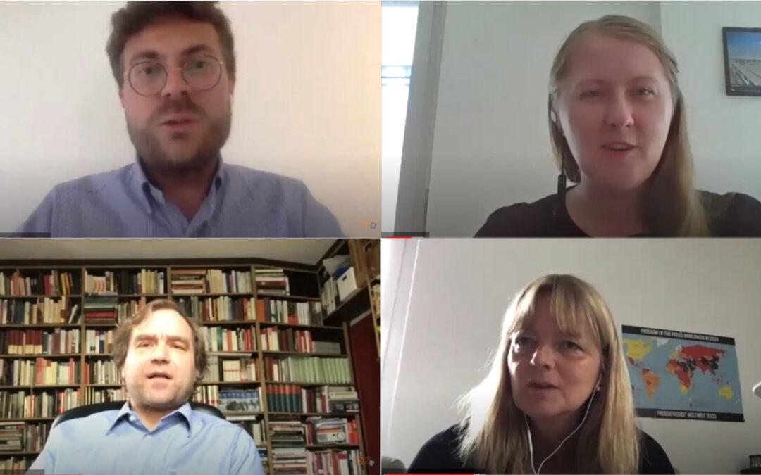 Das Bild zeigt Prof. Dr. Christopher Buschow, Mariana Friedrich, Dr. Falk Thomas Hartung und Heidje Beutel