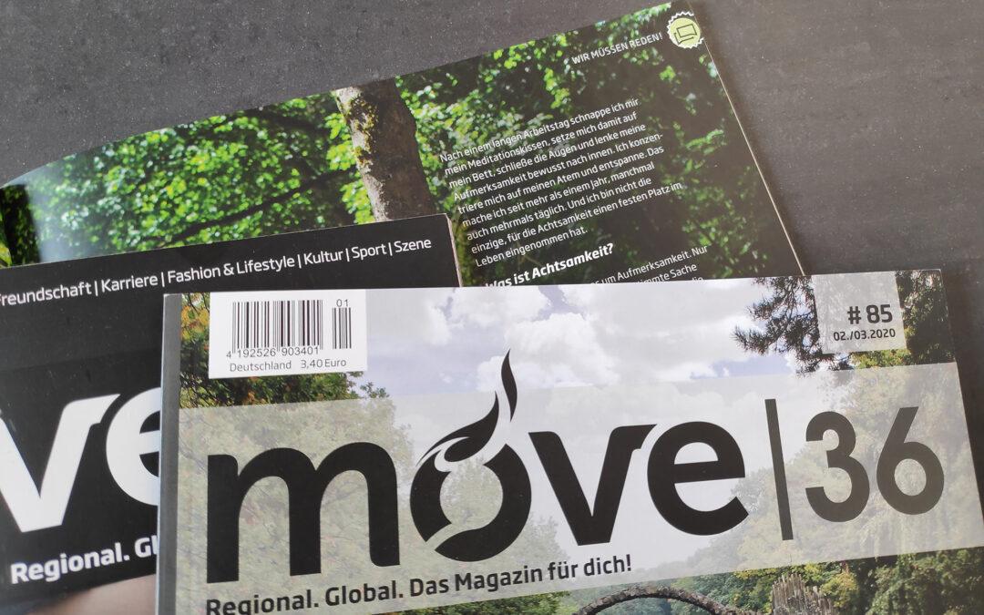 Ein Bild mehrerer Ausgaben des Magazins move36 zum Thema Selbsthilfe.